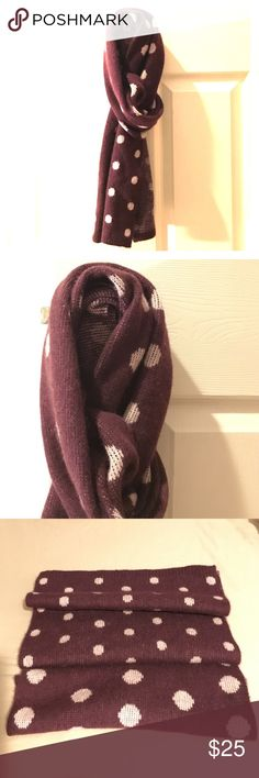 Cashmere polka dot scarf Adorable and soft, this purple scarf is perfect to keep you warm this winter! NWOT- in perfect condition, 100% cashmere. Ask me any questions and make an offer! Halogen Accessories Scarves & Wraps