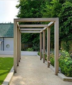 Contemporary pergola over old driveway in bk, you can add climbing jasmine for a wonderful evening scent