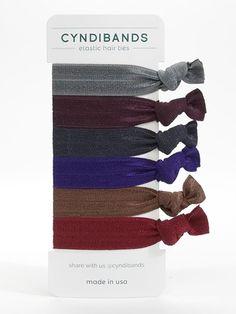 Cyndi Bands 6 pack dark elastic hair ties Henna