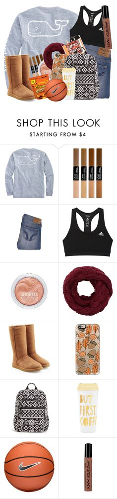 """""""I am SO ready for fall, BASKETBALL!"""" by fandombreather ❤ liked on Polyvore featuring Vineyard Vines, Hollister Co., adidas, UGG, Casetify, Vera Bradley, ban.do, NIKE and NYX"""