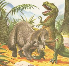 """From """"Triceratops"""" by Angela Sheehan, illustrated by John Francis. Published by Ray Rourke Publishing Co., 1981."""