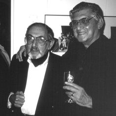 Henry Talbot and Lewis Morley photographers at Byron Mapp Gallery Exhibition of their own work, 1998. © Eric Sierins photo.