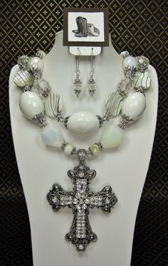 White Cowgirl Bold Chunky Statement by CayaCowgirlCreations Cowgirl Bling, Cowgirl Jewelry, Western Jewelry, Indian Jewelry, Cross Jewelry, Beaded Jewelry, Jewelry Necklaces, Handmade Jewelry, Body Jewelry