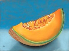 cantaloupe still life fruit pastel painting 7 in X 5 in -- Ria Hills