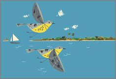 Caribbean Cruisers by Charley Harper Bird Artists, Charley Harper, Bird Illustration, 2d Art, Animals Images, Contemporary Paintings, Art Blog, American Art, Framed Art