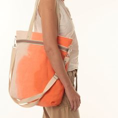 Ombre tote bag linen bag orange bag large shoulder by TatinBags