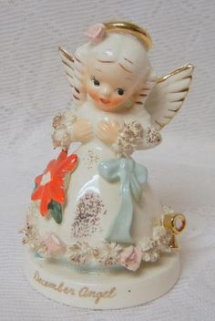 Vintage Napco December Christmas Angel Decorative Porcelain Figurine | eBay