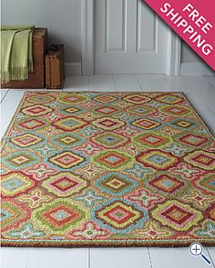 ooo, love this rug for our dining room.  Would tie in the blue from the living room and the green from the kitchen.