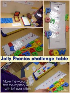 "Mystery word at the Jolly Phonic Challenge table. Make the words and use the leftover letters to determine the ""mystery word"" Phonics Games, Phonics Reading, Teaching Reading, Learning, Phonics Activities, Writing Activities, Classroom Activities, Classroom Ideas, Autism Activities"