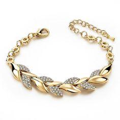 Gold Braided Leaf Bracelets for Women Luxury Crystal Hand Chain for Bridal Wedding Jewelry Wedding Jewelry Simple, Simple Jewelry, Gold Jewelry, Bohemian Bracelets, Fashion Bracelets, Gold Plated Bracelets, Bangle Bracelets, Link Bracelets, Style Steampunk