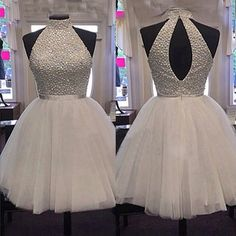 Beaded High Neck Tulle Homecoming Dress Short Prom Dress on Luulla Dama Dresses, Cute Prom Dresses, Pretty Dresses, Beautiful Dresses, Pageant Dresses, White Homecoming Dresses, Two Piece Homecoming Dress, Classy Dress, Ideias Fashion