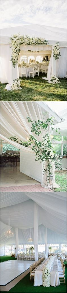 elegant white and greenery tented wedding reception decoration ideas