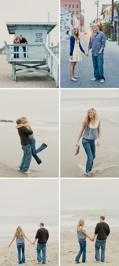 Beach engagement idea (jeans on the beach can sometimes and sometimes not work, like the sundress she started out with)