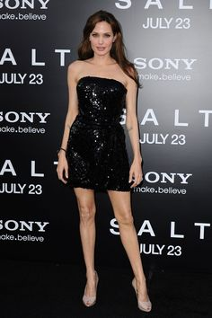 July 2010  In an Emporio Armani dress and the Asprey Protector black diamond bangle - a piece she inspired and designed for Asprey - at the premiere of Salt in LA.