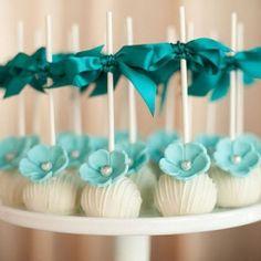 turquoise flower cake pops
