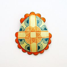 Style: Let's Shop Etsy For Brooches!  (via Enamel Brooch Pysanky Egg Jewellery Pumpkin by VanessaNeily)