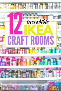 THe Absolute BEST IKEA Craft Room Ideas - the Original! - The best ever Ikea Craft Rooms! VIDEO tours of Ikea sewing rooms, the best ikea tables for crafts, - Ikea Craft Storage, Craft Storage Ideas For Small Spaces, Ikea Craft Room, Small Craft Rooms, Ikea Organization, Cricut Craft Room, Craft Room Closet, Craft Room Tables, Office Storage