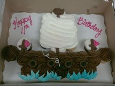 Pirate Ship Cupcake Cake 24 Cupcakes: Buttercream Icing in both White and Chocolate-a tweak on a Cupcake Cake invented by my friend Denelle...