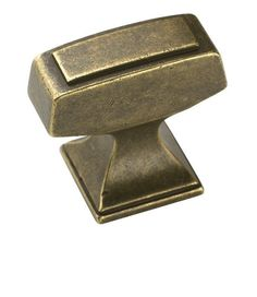 Amerock BP53029 Mulholland 1-1/4 Inch Long Rectangular Cabinet Knob Rustic Brass Cabinet Hardware Knobs Rectangular