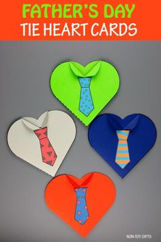 Father's Day tie heart card for kids