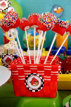 Marshmallow pops at a Angry Birds Party #angrybirds #party