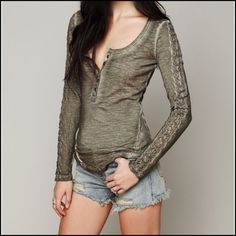 Free People Shell Stitch Lace Henley 100% Cotton. EUC. Scoop neck with cute sleeve details (see 3rd pic) Price is firm Free People Tops
