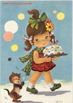 Magnifica postal: divertido dibujo - preciosa niña con una tarta de cumpleaños con su gato - Foto 1