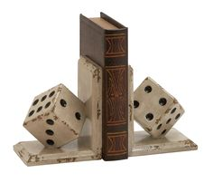 Wood Dice Book Ends