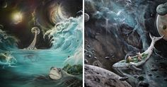 I Use Watercolor And Spray Paint To Create Surreal Landscapes | Bored Panda