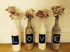 Shabby Chic Wine Bottles ideas and group them together for centrepiece on kitchen table
