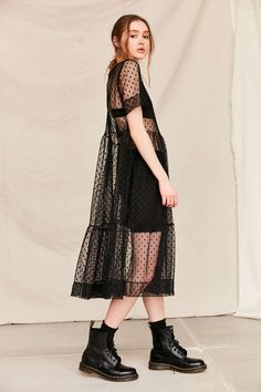 Urban Renewal Remade Sheer Mesh Midi Dress - Urban Outfitters