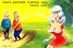 Golf - Lost Ball. To see all our comic postcards with a golf theme, visit http://oldstratforduponavon.com/comicgolf.html