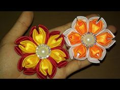 Floral Embroidery Pattern for Beginners - Craft & Patterns Ribbon Art, Fabric Ribbon, Ribbon Crafts, Ribbon Flower, Cloth Flowers, Felt Flowers, Fabric Flowers, Kanzashi Tutorial, Bow Tutorial