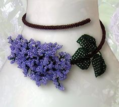 Pattern for seed beaded Lilac flower wire necklace - instructions on beading netting stitch leaves and tubular peyote flowers  necklace