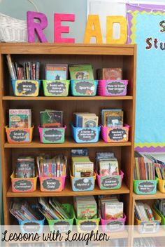 This classroom library keeps the books organized and easy to find. It is easy to find a specific book when the books are separated by either genre or topic. You are in the right place about Book Genre Classroom Layout, 3rd Grade Classroom, Classroom Design, Kindergarten Classroom, School Classroom, Classroom Decor, Classroom Libraries, Future Classroom, Book Boxes Classroom
