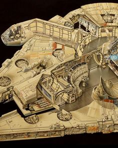 20-Year-Old Millennium Falcon Cut-Away Art from Lucasfilm