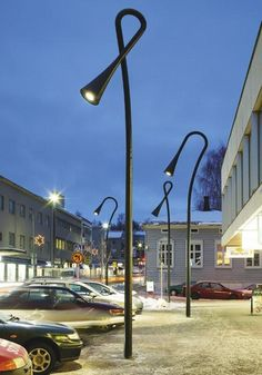 "Public lighting project created by Vesa Hankonen ""reading lamps"" in the town of Heinola, Finland."