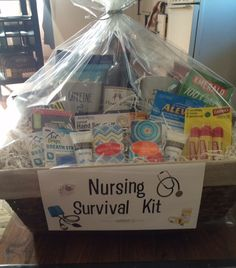 Nurse graduation gift basket! Everything a new nurse will need! Special nurse coffee mugs, wine, tissues, snacks, Chapstick, hand sanitizer and lotion, mini note pads, pens...and more!