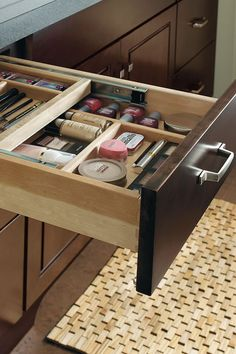Ideal as a sit down area for starting the day or perfect as a desk drawer, the Vanity Cosmetic Center Drawer happily does double duty.
