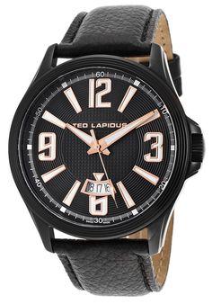 Ted Lapidus Watches Men's Black Genuine Leather Black IP Stainless Steel case 5123704SM,    #TedLapidus,    #5123704SM,    #Dress