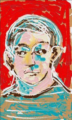 Pedrosa portrait. Ilustração feita em tela de aparelho celular. Paulo Moura, 2014.
