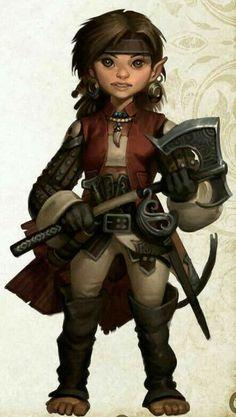 Female Halfling rogue, fighter, or ranger