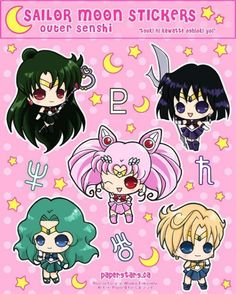 Sailor Moon Stickers Outer Scouts by littlepaperforest on Etsy, $4.00