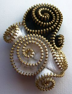Black & White Spiral Floral Brooch / Zipper Pin by ZipPinning - brass teeth - 3091 by ZipPinning on Etsy