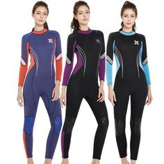 Women's 3MM Winter Warm Diving Suit One Piece Long Sleeved Surf Wetsuit