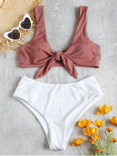 8351c69c98 Shop for Two Tone Tied High Waisted Bikini Set PINK BOW  Bikinis M at  ZAFUL. Only  18.49 and free shipping!