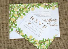 Lemon Tree Yellow and Green Wedding Invitation, modern and vintage inspired, customizable. $3.75, via Etsy.
