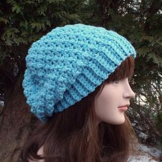 Sky Blue Slouchy Crochet Hat  Womens Slouch by ColorMyWorldCrochet