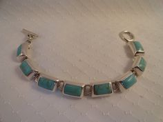 Vintage Larimer and Sterling Silver Bracelet. by BBGIMAGINATIONS