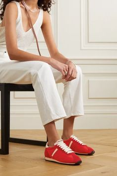 Red 70s Runner suede and leather-trimmed shell sneakers | RE/DONE | NET-A-PORTER Women's Low Top Sneakers, Runners Shoes, Who What Wear, White Leather, Fashion Brands, Menswear, Lace Up, Stylists, Shoulder Bag